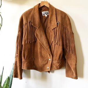 Vintage 90s brown leather suede fringe jacket